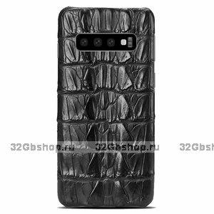 Черный чехол из кожи крокодила Samsung Galaxy S10 хвост