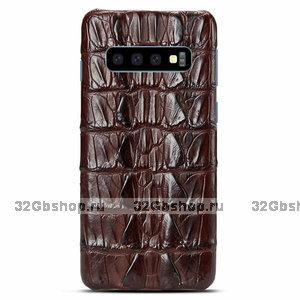 Коричневый чехол из кожи хвоста крокодила Samsung Galaxy S10