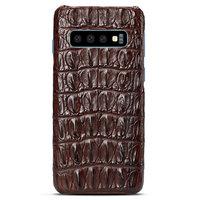 Коричневый чехол из кожи крокодила Samsung Galaxy S10 спинка