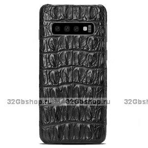 Черный чехол из кожи спинка крокодила Samsung Galaxy S10
