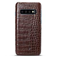 Коричневый чехол из крокодиловой кожи Samsung Galaxy S10 брюхо