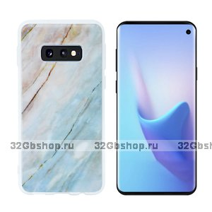 Силиконовый чехол для Samsung Galaxy S10e голубой мрамор