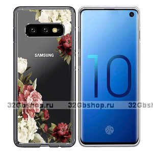 Силиконовый чехол для Samsung Galaxy S10e с рисунком розы