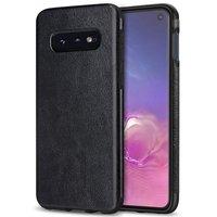 Черный силиконовый чехол с кожаной вставкой для Samsung Galaxy S10e