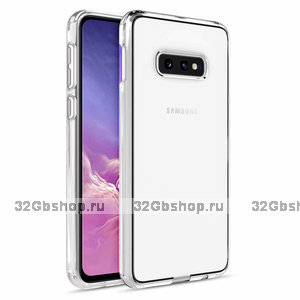 Прозрачный силиконовый чехол бампер серебряный металлик для Samsung Galaxy S10e