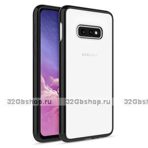 Прозрачный силиконовый чехол для Samsung Galaxy S10e бампер черный металлик