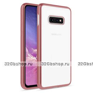Прозрачный силиконовый чехол для Samsung Galaxy S10e бампер металлик розовое золото
