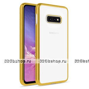 Прозрачный силиконовый чехол для Samsung Galaxy S10e с золотистым бампером