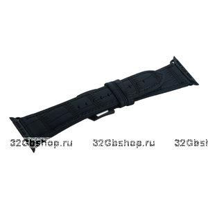 Черный кожаный ремешок COTEetCI Fashion Leather для Apple Watch 44мм/ 42мм