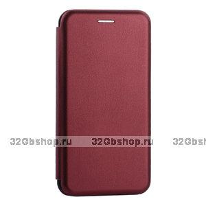 Бордовый кожаный чехол книга для Samsung Galaxy S10