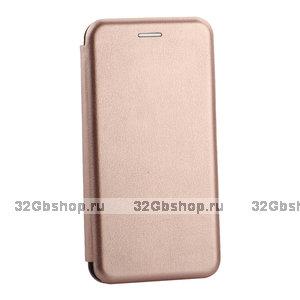 Кожаный чехол книга для Samsung Galaxy S10 розовое золото