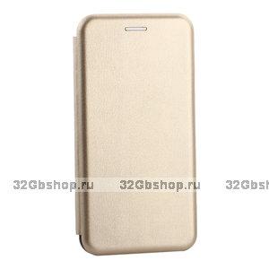 Золотой кожаный чехол книжка для Samsung Galaxy S10