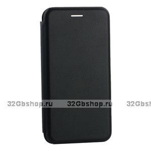 Черный кожаный чехол книжка для Samsung Galaxy S10