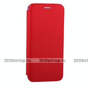 Красный кожаный чехол книжка для Samsung Galaxy S10