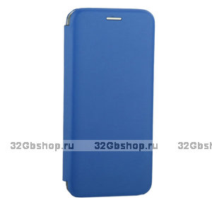 Синий кожаный чехол книга для Samsung Galaxy S10