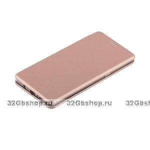 Кожаный чехол книжка для Samsung Galaxy S10+ Plus розовое золото