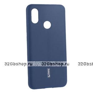 Синий матовый силиконовый чехол и пленка для Xiaomi Mi 8 - Cherry Matte Blue Case 0.4mm & Screen