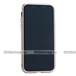 Чехол - бампер закаленное стекло с магнитной металлической рамкой Baseus Magnetite Hardware для iPhone XS/ X Розовое золото