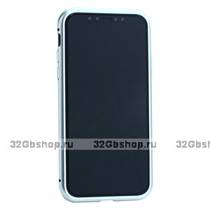 Серебристый чехол - бампер закаленное стекло с магнитной металлической рамкой Baseus Magnetite Hardware для iPhone XS/ X