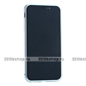 Серебристый чехол - бампер Baseus Magnetite Hardware для iPhone XS Max закаленное стекло с магнитной металлической рамкой
