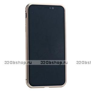 Чехол - бампер закаленное стекло с магнитной металлической рамкой Baseus Magnetite Hardware для iPhone XS Max Розовое золото