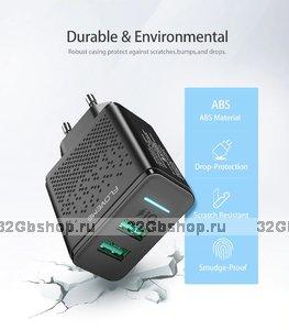 Блок питания универсальный FLOVEME Dual - два выхода 2USB 5V max 2.4A Черный