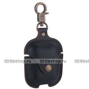 Черный кожаный чехол COTEetCI Leather Case with Hook для AirPods с карабином