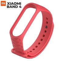 Красный ребристый силиконовый ремешок для Xiaomi Mi Band 4