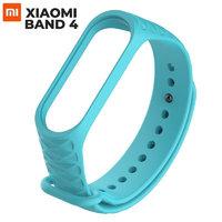 Браслет бирюзовый ребристый силиконовый для Xiaomi Mi Band 4