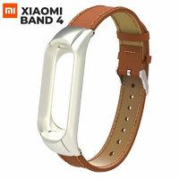 Коричневый кожаный ремешок для Xiaomi Mi Band 4