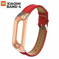 Красный кожаный браслет для Xiaomi Mi Band 4