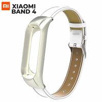 Белый кожаный ремешок для Xiaomi Mi Band 4