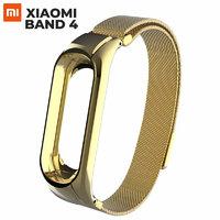 Золотой магнитный металлический ремешок для Xiaomi Mi Band 4 миланское плетение