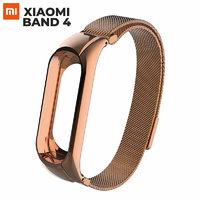Магнитный металлический браслет миланское плетение для Xiaomi Mi Band 4 розовое золото