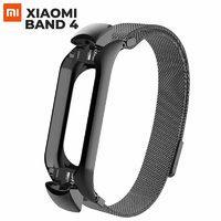 Черный металлический магнитный браслет миланское плетение для Xiaomi Mi Band 4