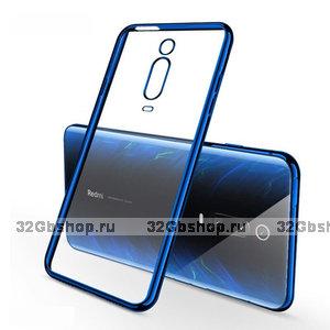 Прозрачный силиконовый чехол с синим бампером для Xiaomi Mi 9T / 9T Pro