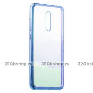 Синий прозрачный силиконовый чехол с ободком для Xiaomi Redmi K20 / K20 Pro