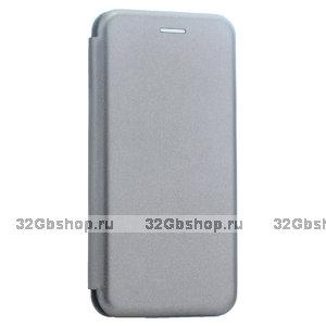 Чехол книжка кожаный Fashion Case для Xiaomi Redmi 6A (5.45) Графитовый