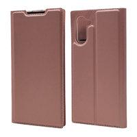 Кожаный чехол книжка для Samsung Galaxy Note 10 розовое золото