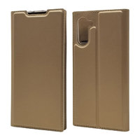 Золотой кожаный чехол книжка для Samsung Galaxy Note 10