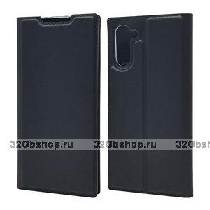 Черный кожаный чехол книжка для Samsung Galaxy Note 10