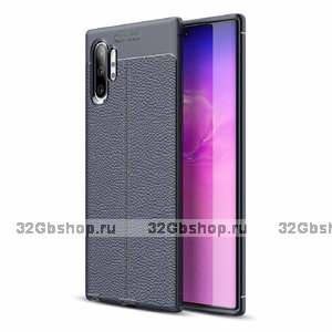 Синий силиконовый чехол для Samsung Galaxy Note 10+ Plus фактура кожи