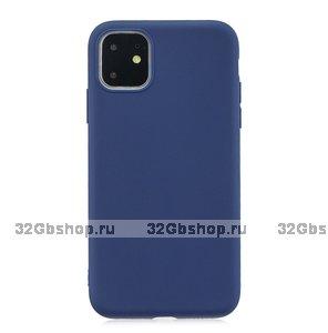 Синий тонкий силиконовый чехол для iPhone 11