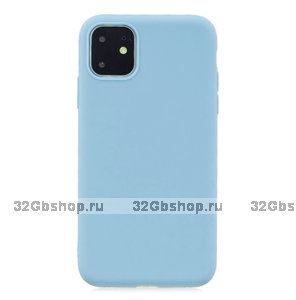 Голубой тонкий силиконовый чехол для iPhone 11