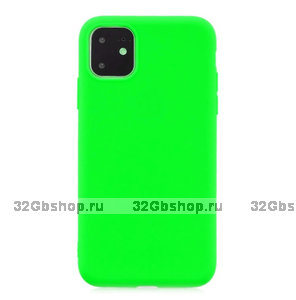 Зеленый тонкий силиконовый чехол для iPhone 11