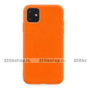 Оранжевый тонкий силиконовый чехол для iPhone 11