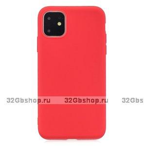 Красный тонкий силиконовый чехол для iPhone 11