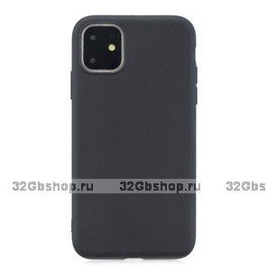 Черный тонкий силиконовый чехол для iPhone 11