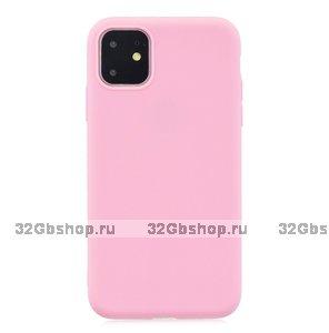 Розовый тонкий силиконовый чехол для iPhone 11