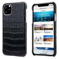 Черный чехол из кожи крокодила для iPhone 11 Pro Max брюхо